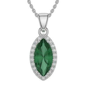 3.6 Ct Green Emerald With Diamond Pendant Necklace